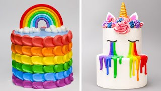 How to Make the Best Ever Rainbow Cake Decorating For Party  Amazing Rainbow Cakes &amp Dessert