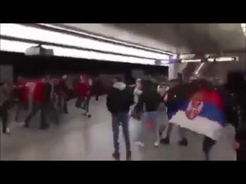 Albanian fans vs Serbian fans fight