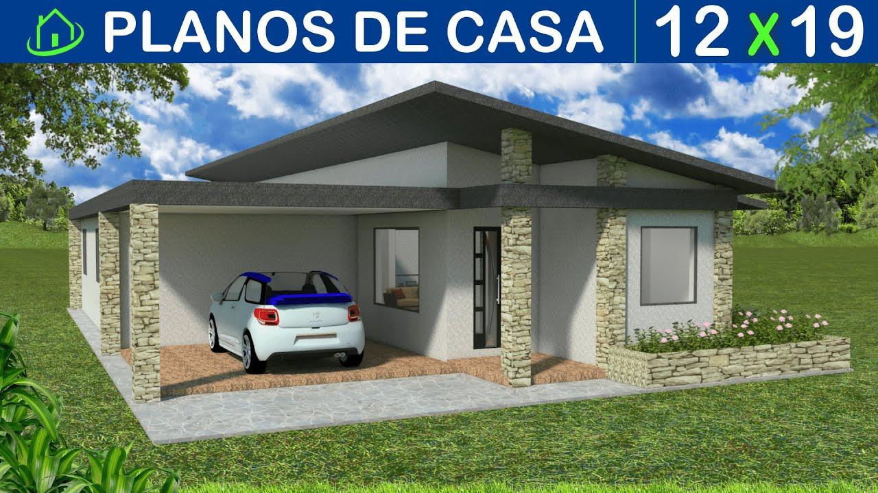 dise os y planos de casa 1 piso minimalista con garaje