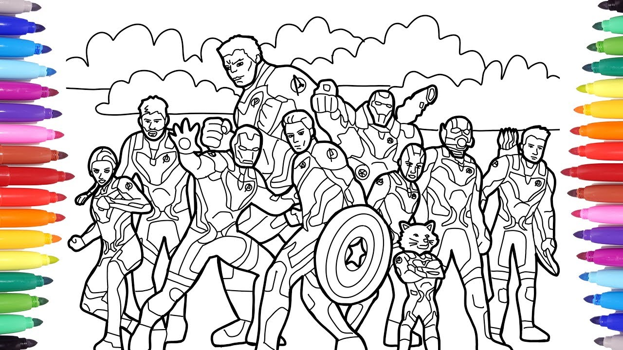 MARVEL AVENGERS ENDGAME // COLORING ALL AVENGERS ENDGAME CHARACTERS WITH  NEW SUIT ARMOURS