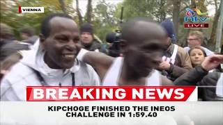 INEOS 1:59 Challenge: Eliud Kipchoge's wife embraces him at the finish line