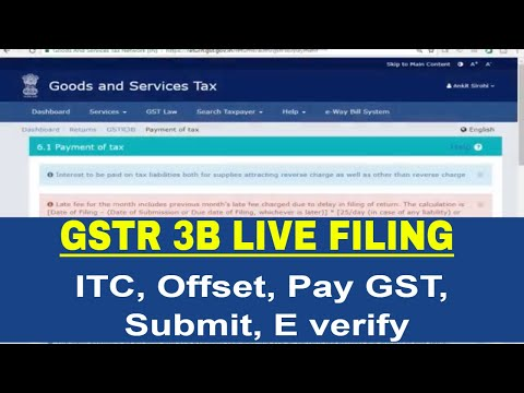 GSTR 3B Live Filing: offset liabilities pay GST and submit G