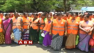 Sanitation Workers Protest at GHMC Head Office over Salaries | ABN Telugu