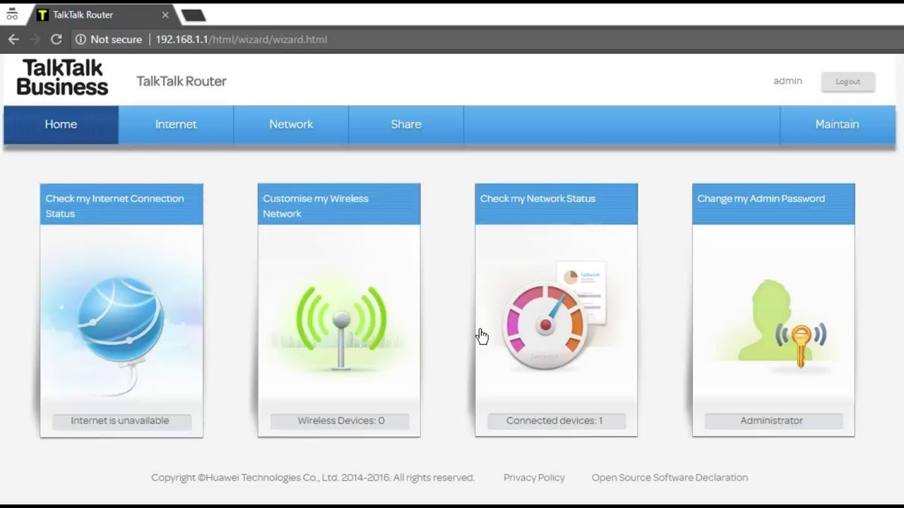 Web admin interface of the TalkTalk Super Router (Huawei HG633)  How do you  turn off wifi?