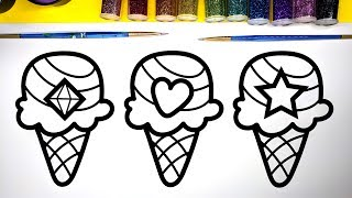 Coloring Ice Cream with Glitter, Art Video for Children by BirthdayCandyLand