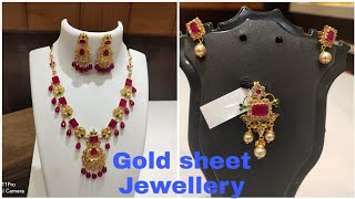 Gold light weight neckless jewellery with price || gold sheet jewellery weight with price