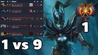 1 VS 9 Phantom Assassin Rank 1 Dota2