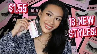13 NEW STYLES $1.55 SHOPMISSA FAUX MINK LASHES TRY ON + REVIEW