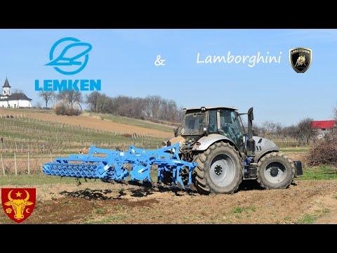 Lamborghini R6 190 + Lemken Karat 9 3.5m Cultivator Harrow Tillage