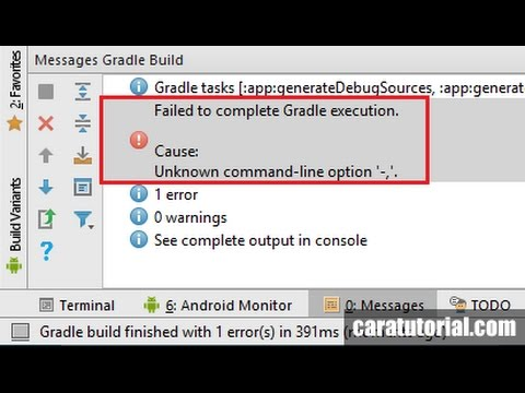 Android Studio: Error Failed to complete Gradle execution  Cause  Unknown-command-line Option