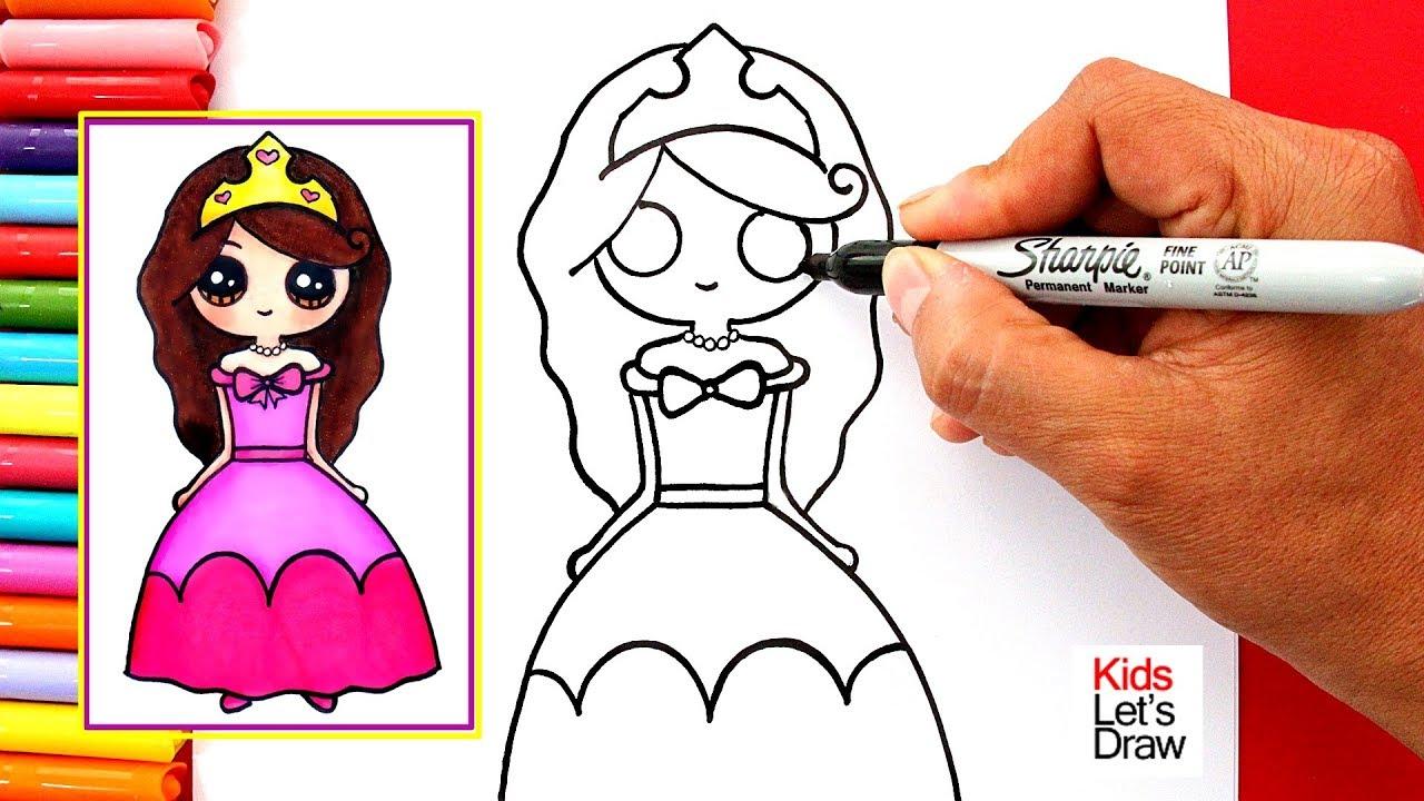 Aprende A Dibujar Una Princesa Kawaii Facil How To Draw A Cute Girl Dressed As Princess Youtube