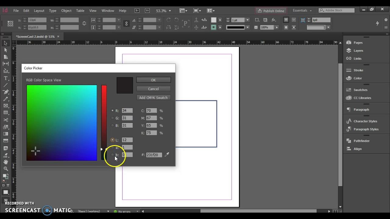 Using The Color Picker Adobe Indesign Cc Youtube
