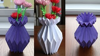 How To Make A Paper Flower Vase   Diy Simple Paper Craft