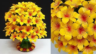 DIY-Paper flowers Guldasta made with Empty Plastic bottle|Water Bottle Recycle -Home Decor ideas