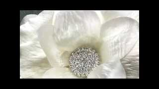 White Shimmer Satin Bridal Hair Flower by Hair Comes the Bride