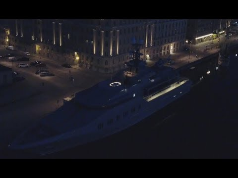 """SUPERYACHT """"Skat"""" by Lürssen NIGHTTIME in Stockholm owned by creator of Office Suite Charles Simonyi"""