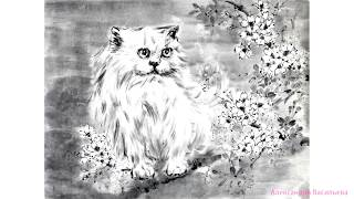 Японская живопись тушью Суми-э. Художник Александра Васильева