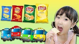 감자칩 먹방 하면서 색깔놀이 해봐요!! 타요 버스 동요 핑거송Learn Color Finger Family Tayo Bus Song 마슈토이