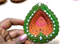 Diya decoration ideas / Diya easy decoration for diwali
