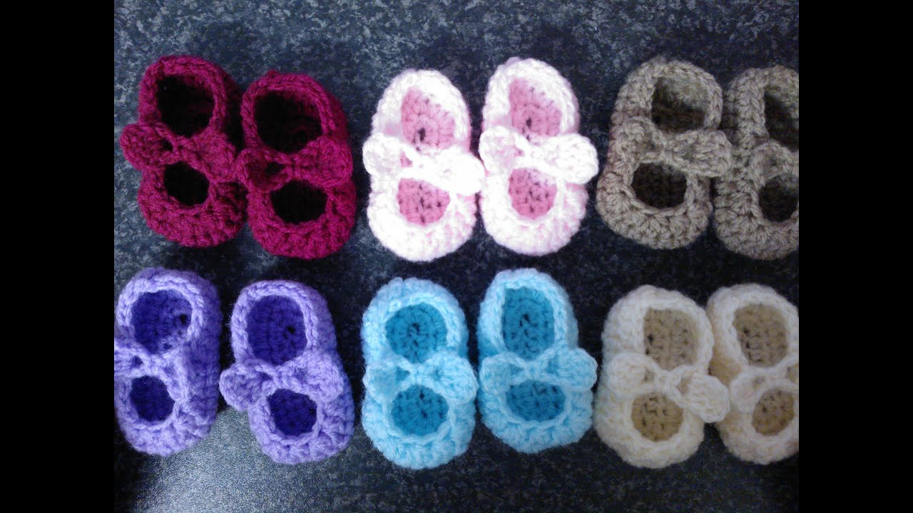 My Easy Crochet Petite Baby Mary Jane Ballerina Slippers With Bows ...