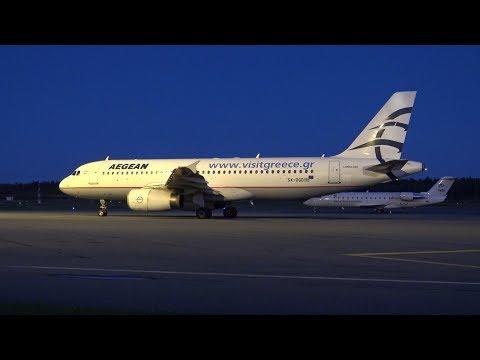 4K | Aegean Airbus A320-232 SX-DGD Full Turnaround at Tampere-Pirkkala (EFTP)