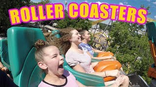 SCARY ROLLER COASTERS! EXTREME FAMILY FUN! (Haschak Sisters) thumbnail