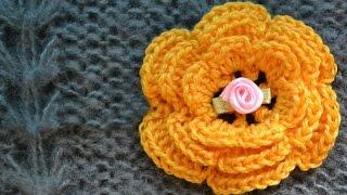 Как связать объемный цветок крючком. 3D crochet flower(Мастер-класс по вязанию Объемного цветка крючком. Схему и фото с описаниями вы также можете посмотреть:..., 2015-11-12T06:52:40.000Z)