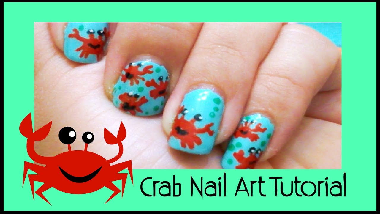 Crab Nail Art Tutorial Spanish With English Subs Youtube