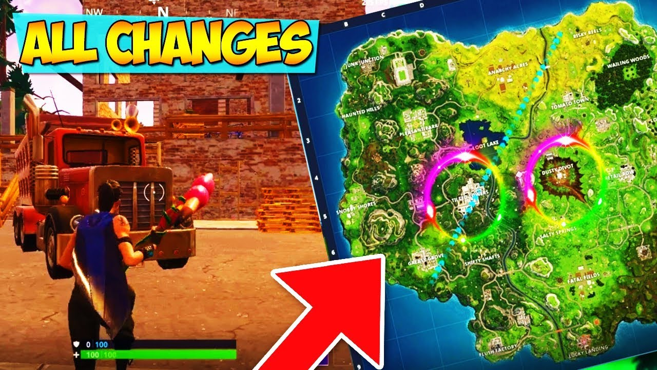All New Map Changes In Fortnite New Tilted Tower Building New