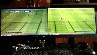 PC HD Dual Computer Monitor Setup (1920x1080) FIFA 14 GAMEPLAY