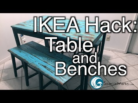 IKEA HACK: Table and Benches // How-To (Ep. 66)<a href='/yt-w/vJSKz8uQB2U/ikea-hack-table-and-benches-how-to-ep-66.html' target='_blank' title='Play' onclick='reloadPage();'>   <span class='button' style='color: #fff'> Watch Video</a></span>