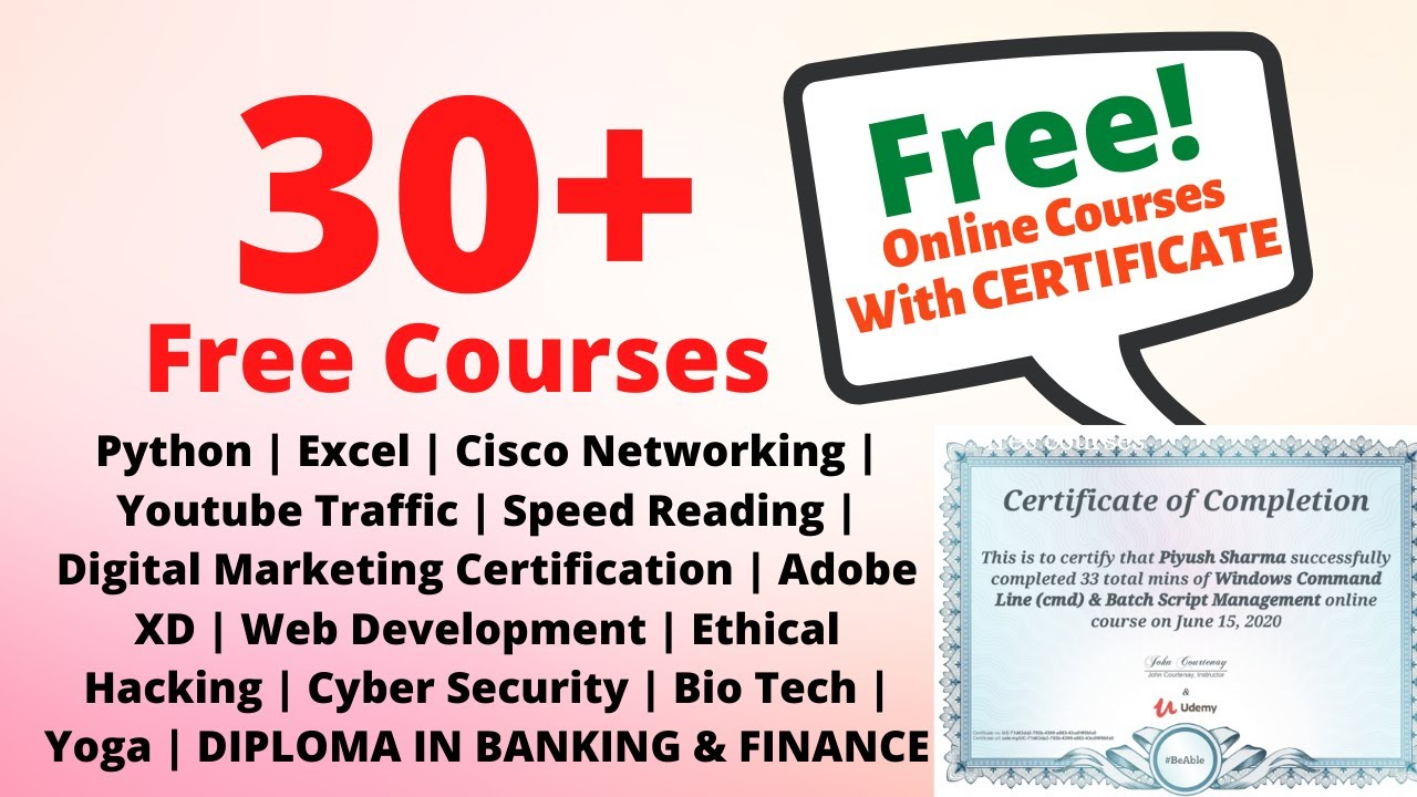 30+ Best Free Udemy Courses| Free Certificate With All Courses| Diploma in Bank Course | #freecoupon