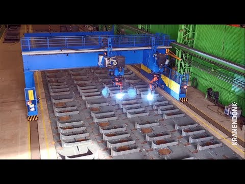 Panel Welding Gantry in operation - automated robot welding at shipyards