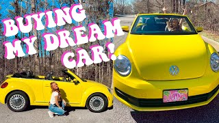 BUYING MY DREAM CAR VLOG! YELLOW VOLKSWAGEN BEETLE CONVERTIBLE
