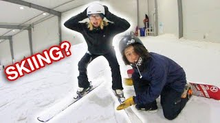 SNOWBOARDER TRIES SKIING!