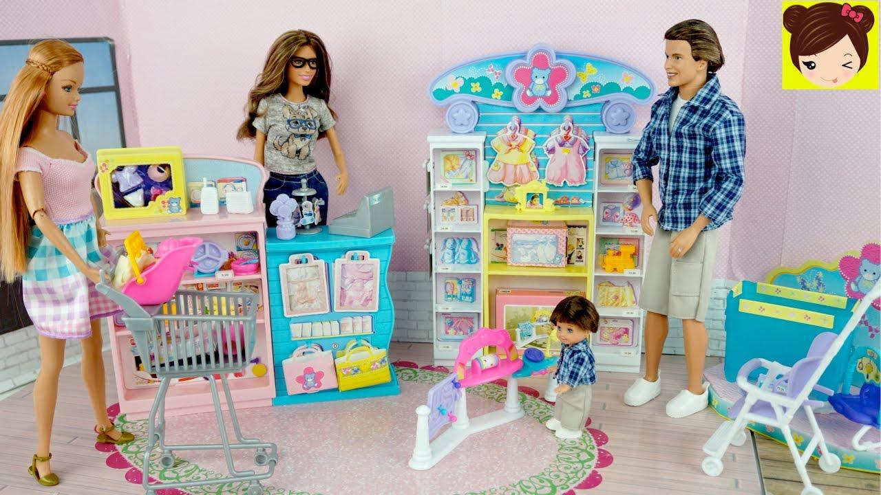 560082d11ab3 Barbie Mama y Sus Hijos van de Compras a la Tienda de Bebes - Los Juguetes  de Titi