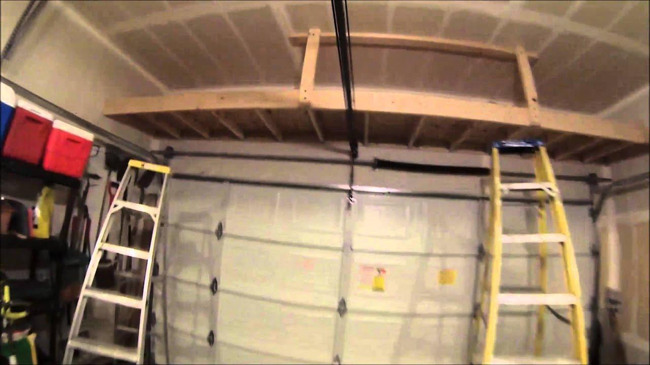 Building a shelf above the garage door - YouTube