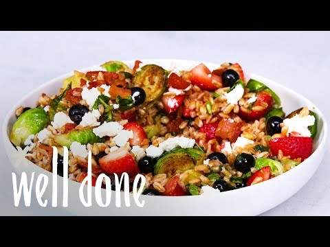 How To Make Farro Salad With Brussels Sprouts, Bacon And Fresh Berries | Recipe | Well Done