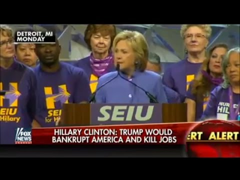 Clinton warned that the United States Bankruptcy and Trump will kill jobs