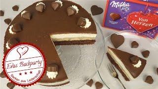 Milka-Herz-Torte, sage Dankeschön / Muttertag / Schokobananentorte / Milkatorte / EvasBackparty