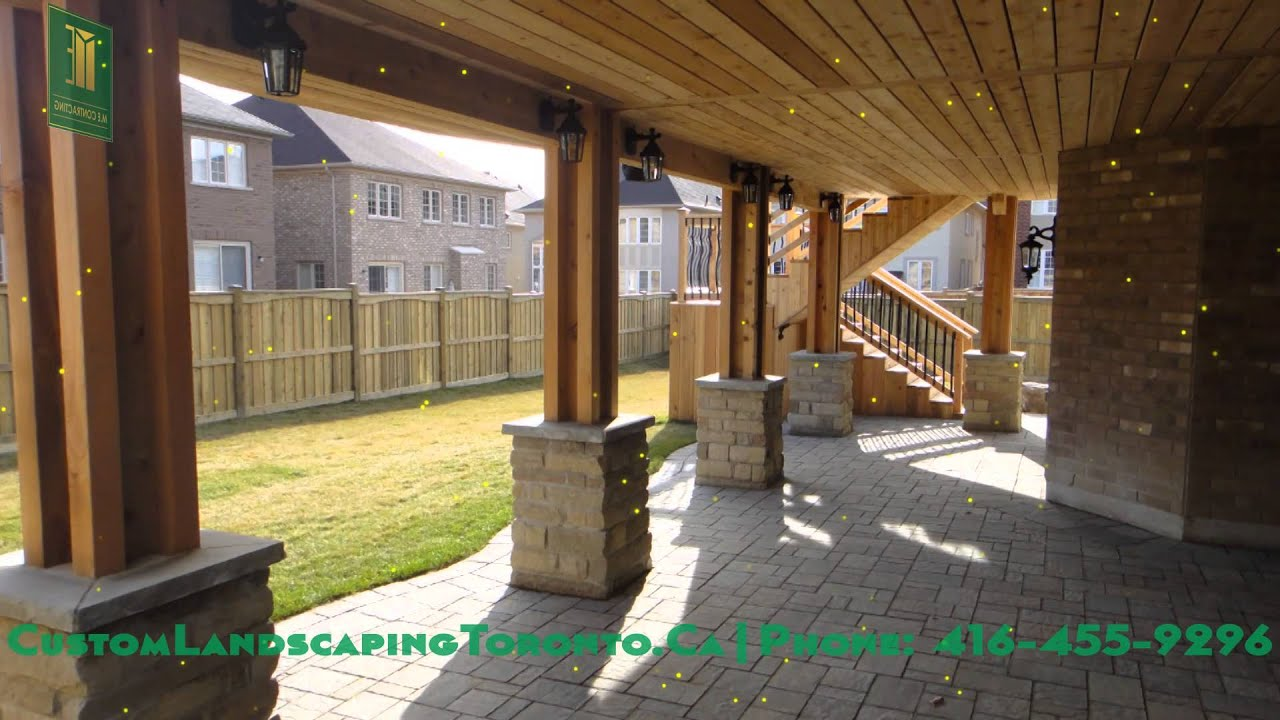 Cedar deck pergola and walkout basement youtube for Walkout basement backyard ideas