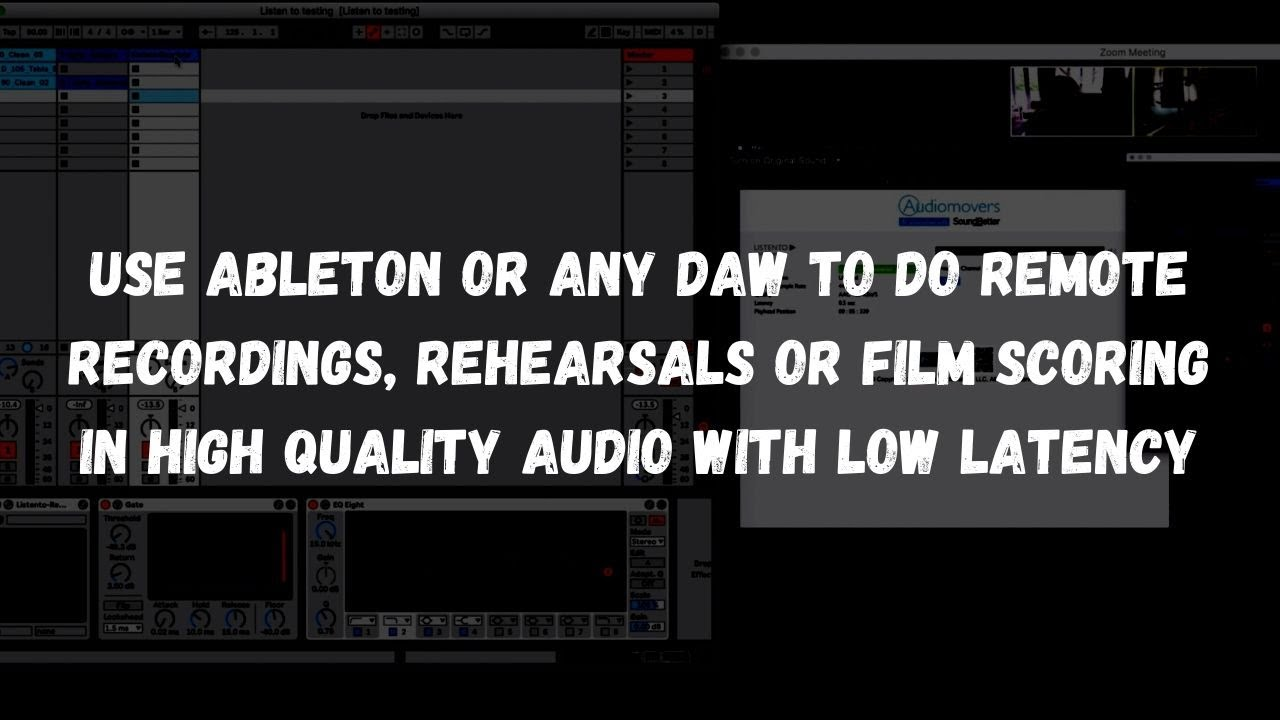 How to use Listento plugin by Audiomovers for remote record, rehearsal or scoring video on Ableton