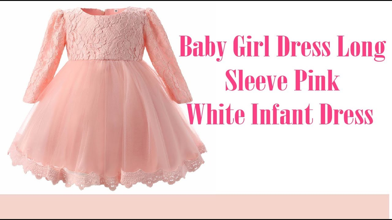 Baby Girl Dress Long Sleeve Pink White Infant Dress ! kids baby dress 64f8bcf122d4