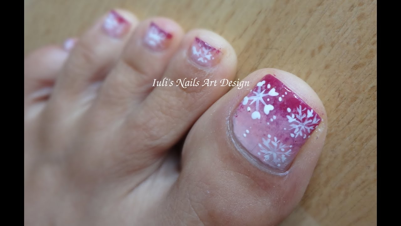 Toes Art Design How To Paint A Snowflake Blue And White Tutorial