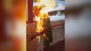 Man set on fire during verbal clash with protesters