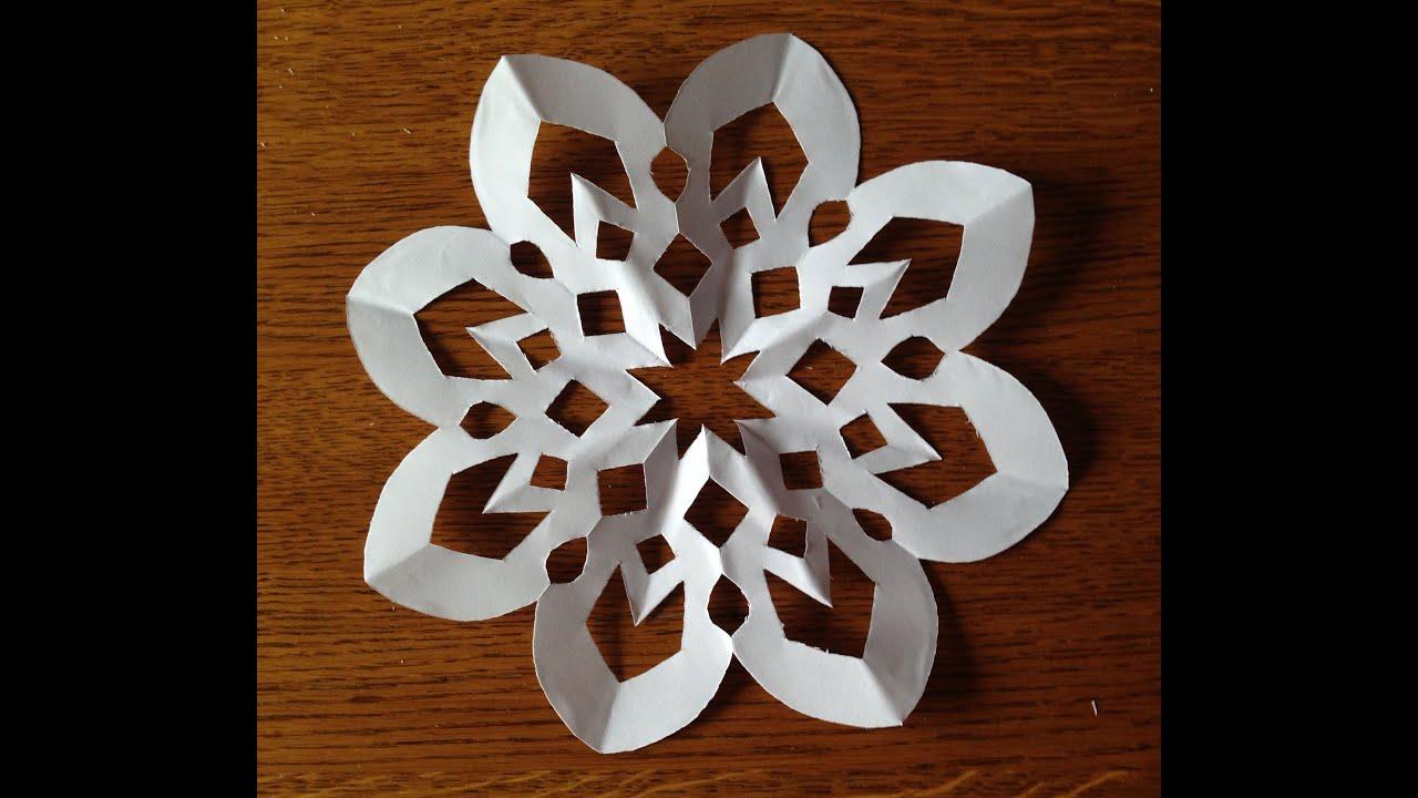 Как сделать снежинку из бумаги. - YouTube