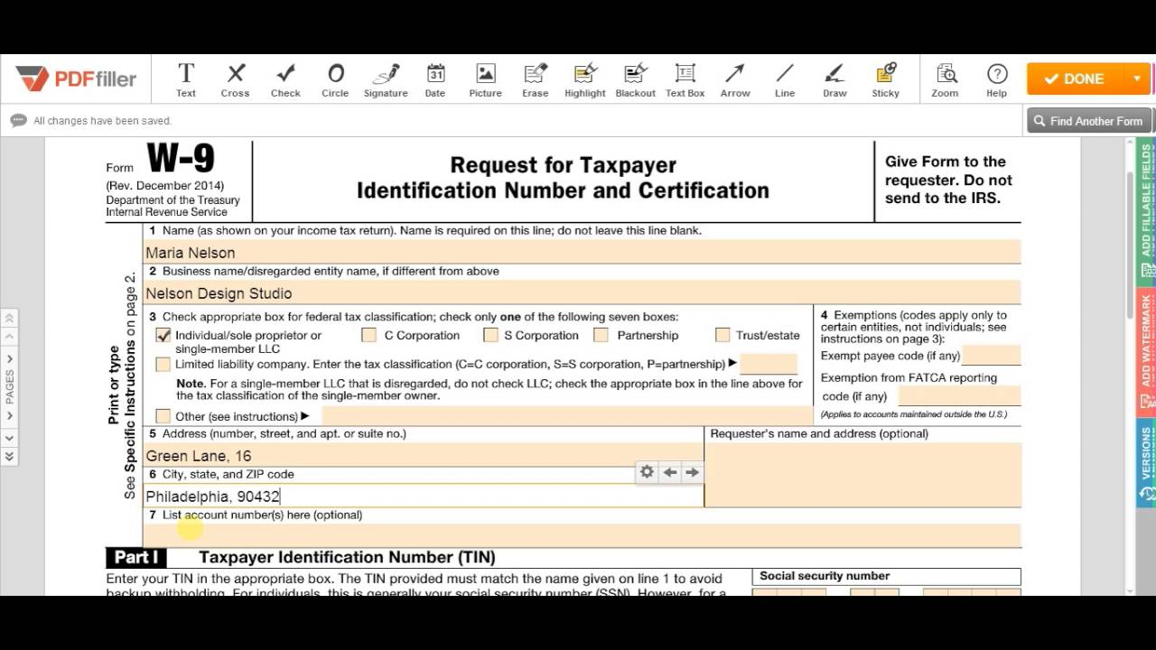 How to Fill W9 Form - YouTube