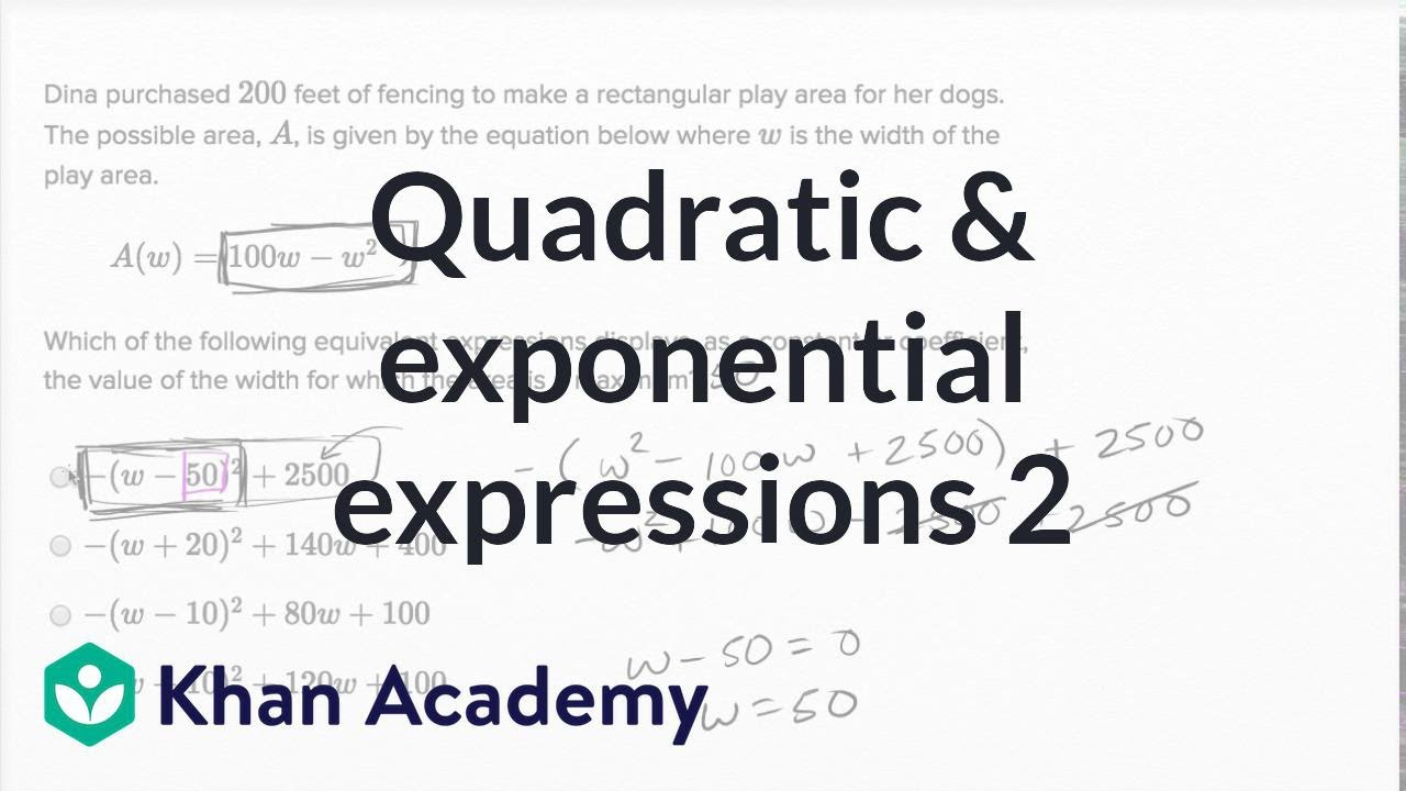 Manipulating quadratic and exponential expressions