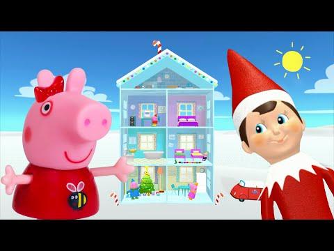 Peppa Pig Game   Elf On The Shelf Hiding In Peppa Pig Snowman Toys   Peppa Pig Toy Snowman
