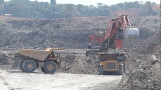 Heavy Mine Equipment At Work Shifting Overburden
